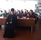 6 марта в Центральной библиотеке, участники клуба «Берегиня» встретились с настоятелем храма Трёх Святителей архимандритом Арсением, на мероприятии, посвящённом 1030-летию Крещения Руси (988) «Крещена была Русь».